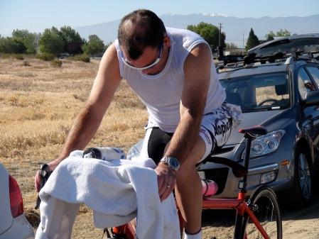 training on a paketa tandem bicycle