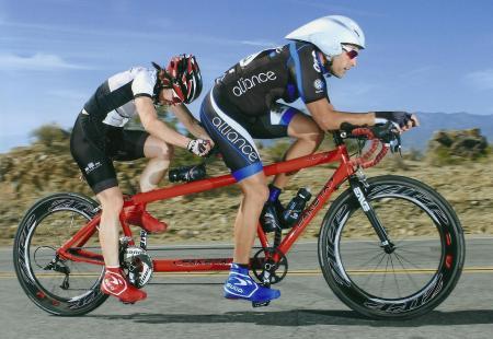 chris and colleen racing paketa tandem bicycle